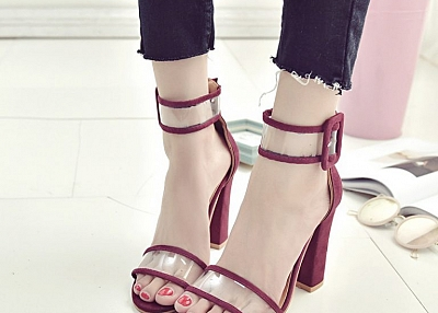 OPENWORK BUCKLE HIGH HEEL SANDALS