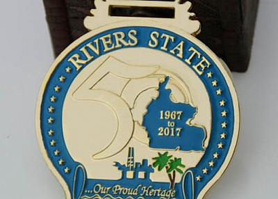 The custom medals are for The 50th of River States from 1967 to 2017. Rivers State, also known simpl