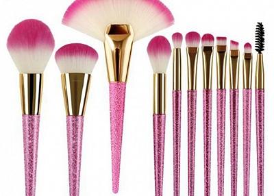 cheap 11pcs pink makeup brush set private label