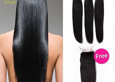 Ghairs Peruvian bundle natural black, 10-30'', all texture