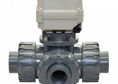 A150-T25-P3-B 1 inch DN25 3 way PVC motorized ball valve