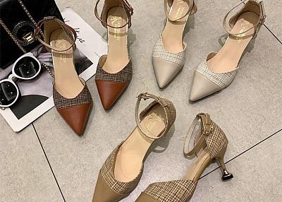 Color Patchwork Pumps Ladies High Heels Shoes