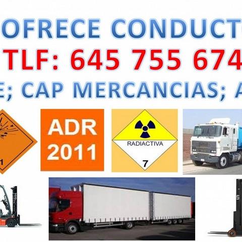Conductor C+E, CAP de MERCANCIAS y ADR 2011 (mercancías peligrosas),