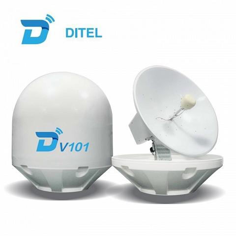 Ditel V101 100cm Ku band marine VSAT communication antenna providing satellite internet service
