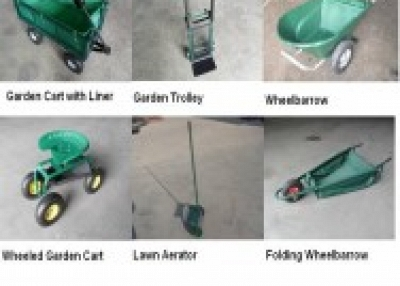 Selling wheel barrows, tool carts and garden tools