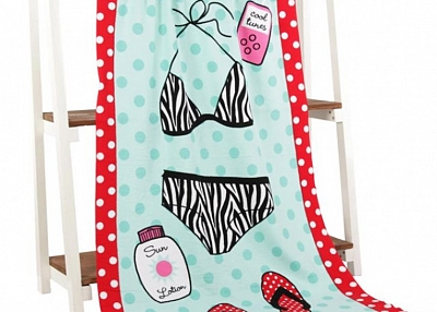 Microfiber reactive printed beach towel