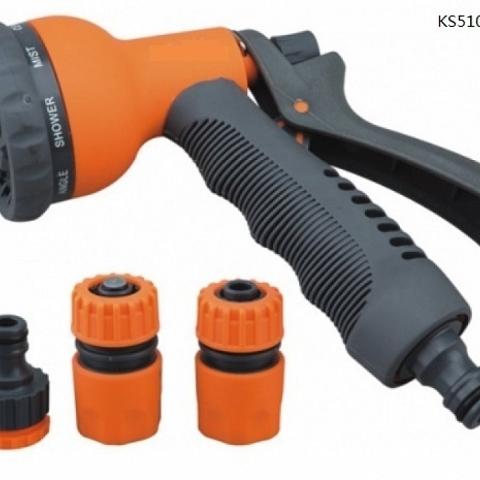 hose spray gun/water nozzle set 8-pattern with quick connectors