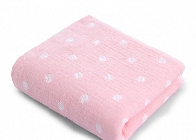 Combed cotton gauze polka dot towel
