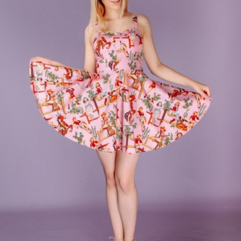 Western Cowboy Style Printed Dress in Pink