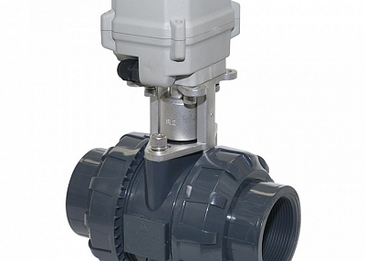 A150-T50-P2-B 2 inch DN50 PVC motorized valve true union with manual overrdie