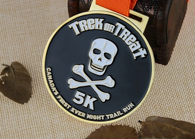 Custom Race Medals for Night Trail Run-Human Skeleton